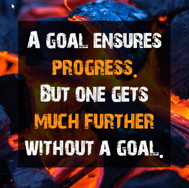 A goal ensures progress. But no one gets much further without a goal.